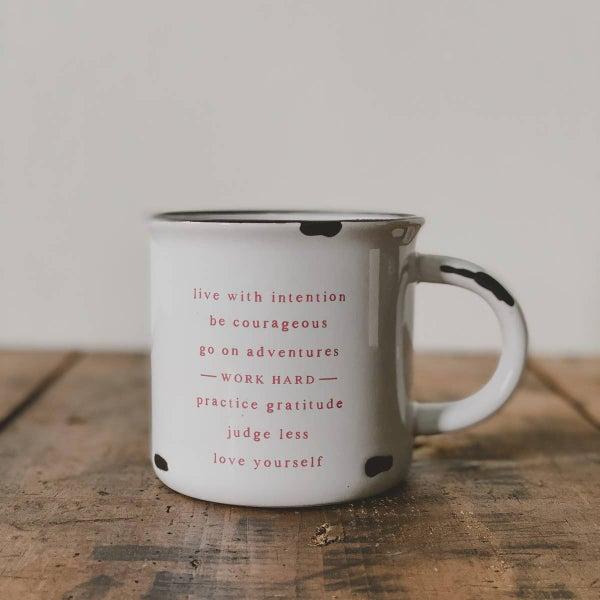 Life mantra ceramic distressed mug 15 oz