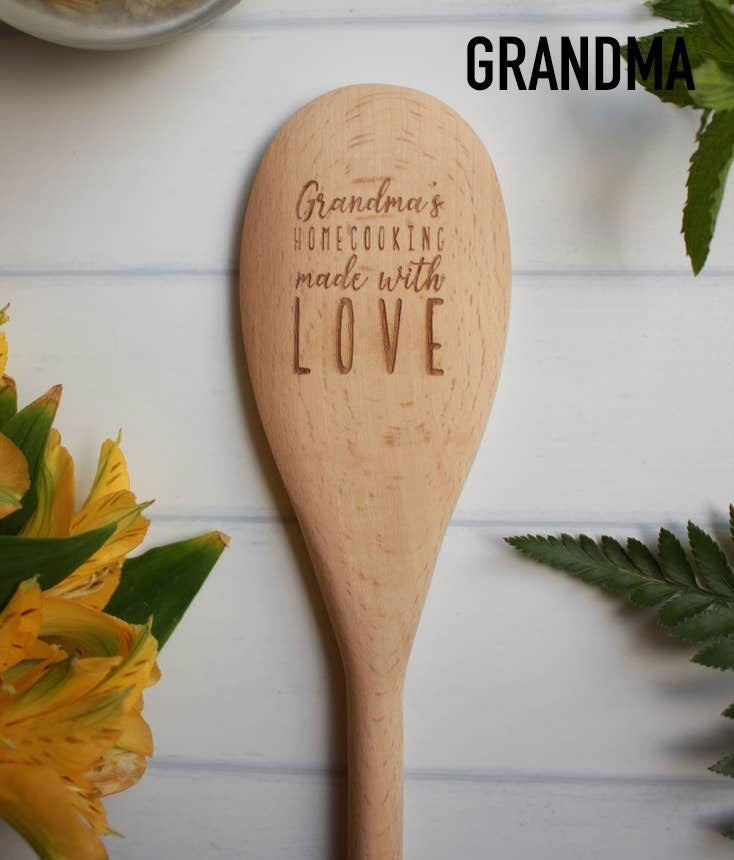Laser-engraved wooden spoons