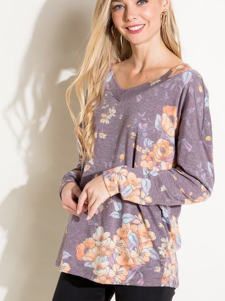 Wide v-neck floral long sleeve top