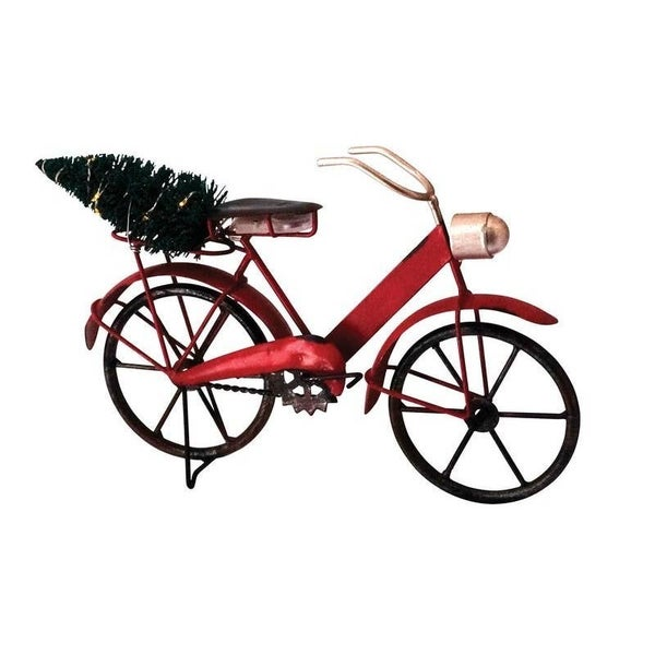 Metal bicycle with a lighted tree on the back