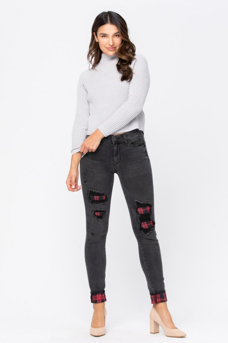 Judy Blue Black Destroyed Buffalo Plaid Jeans