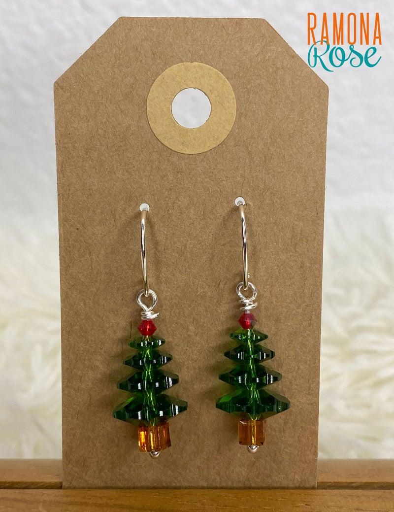 Swarovski Crystal Sterling Silver Christmas Tree Earrings