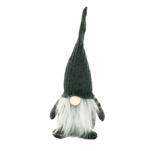 "Grey gnome with striped sleeves, 14"" tall"