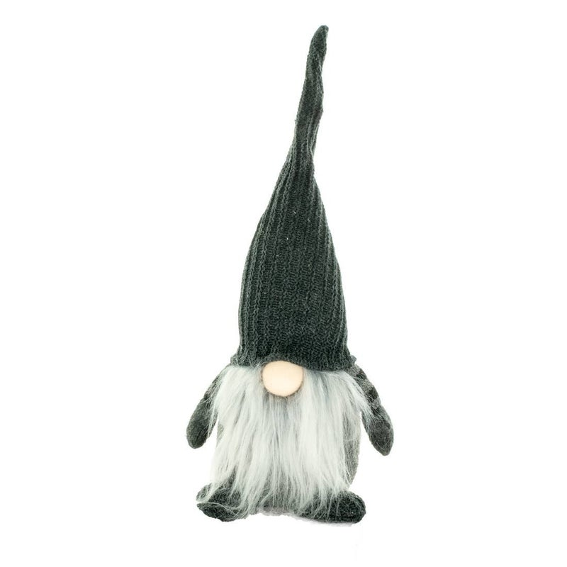 """Grey gnome with striped sleeves, 14"""" tall"""