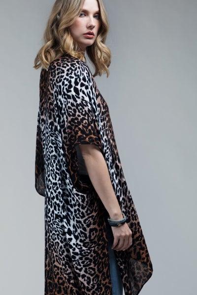 Ombre Leopard Print Kimono