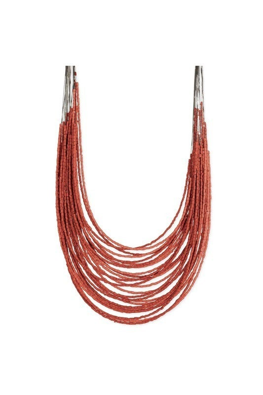 Boho tiered 28-strand barrel bead necklace