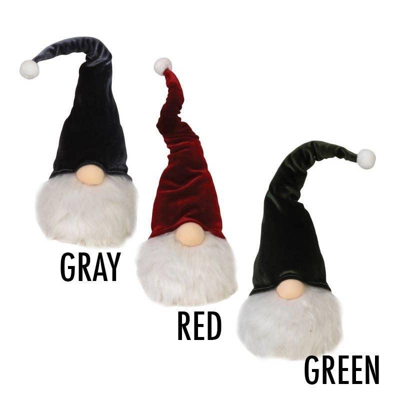Velvet light-up gnome, 15-inch (red, green or grey)