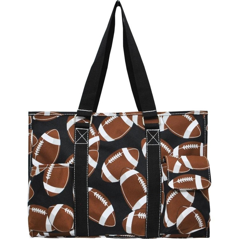 Football Zippered Caddy Organizer Tote Bag
