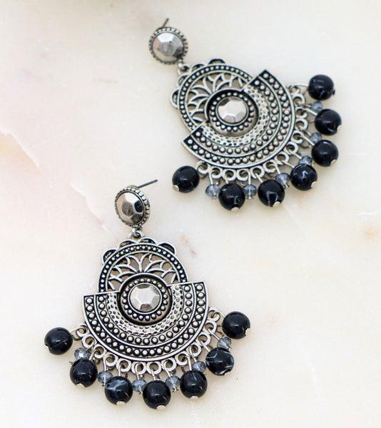 Boho filigree dangle earrings with beads