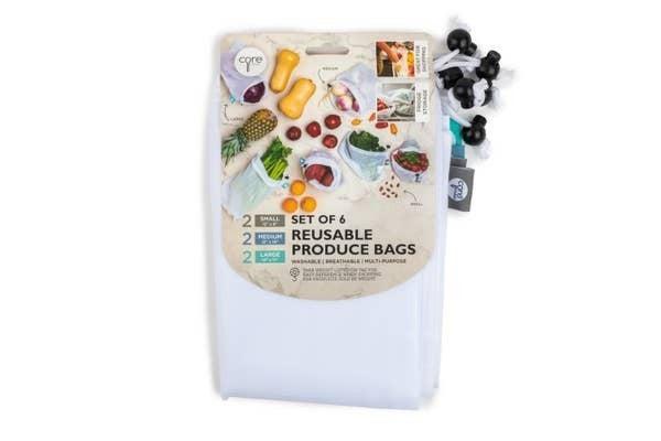 6pc Reusable Mesh Produce Bags S/M/L - White