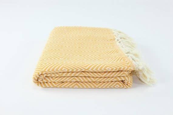 """Premium Turkish Big Diamond Pattern Towel (39"""" x 74"""")"""