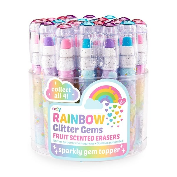 Rainbow glitter gem fruit-scented erasers