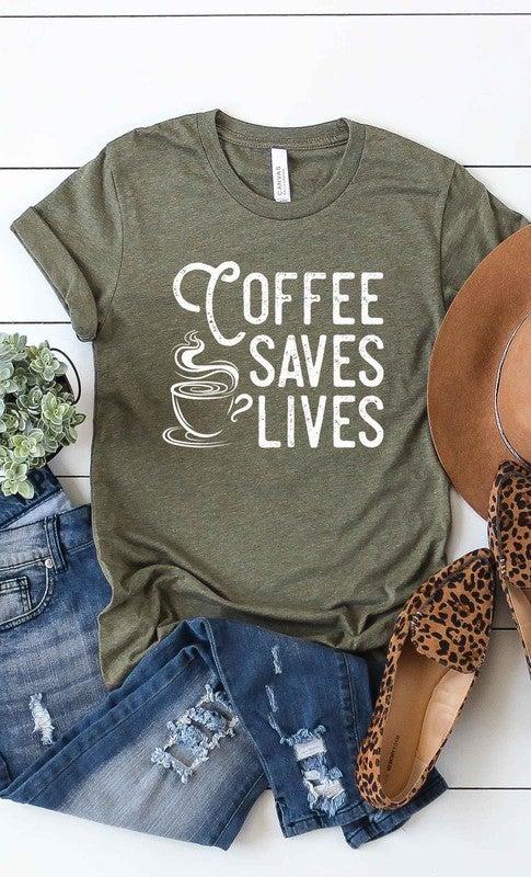 """Coffee saves lives"" Graphic Tee"