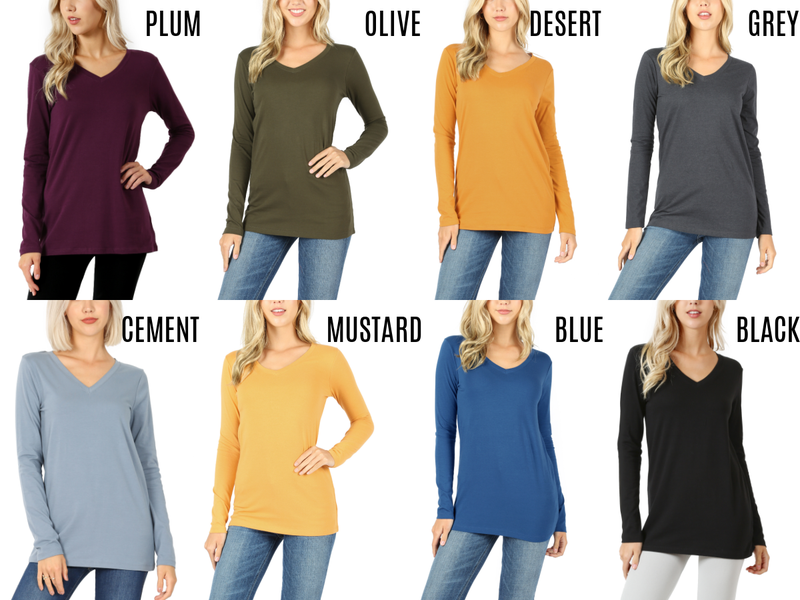 Long sleeve solid v-neck top - 8 colors available!