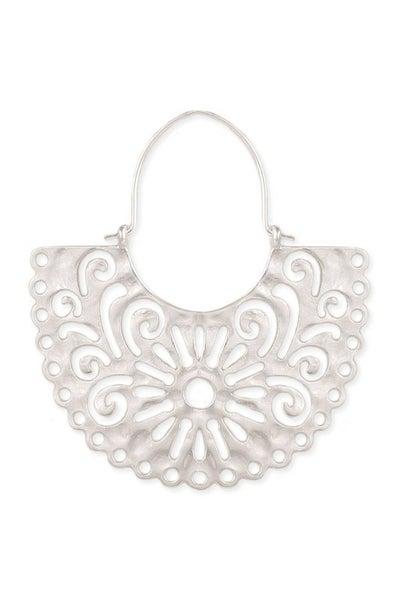 Fan shaped silver cut-out earrings with swirl designs