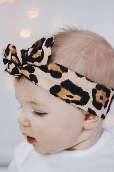 Baby/Kids Knot Bow Headband - Latte Cheetah print : Jena Bug Baby Boutique