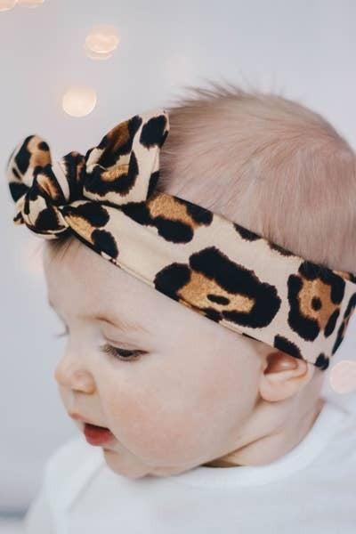 Baby/Kids Knot Bow Headband - Latte Cheetah print : Jena Bug Baby Boutique