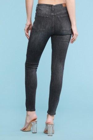 Judy Blue Grey Mid-rise Handsand Skinny Jeans