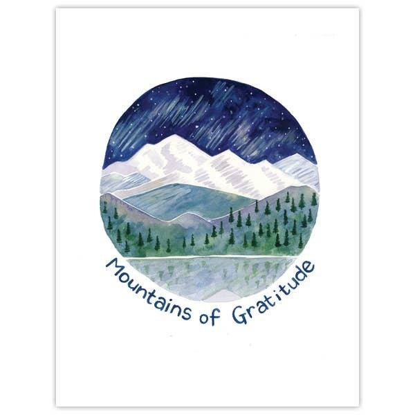 'Mountains of gratitude' thank you card