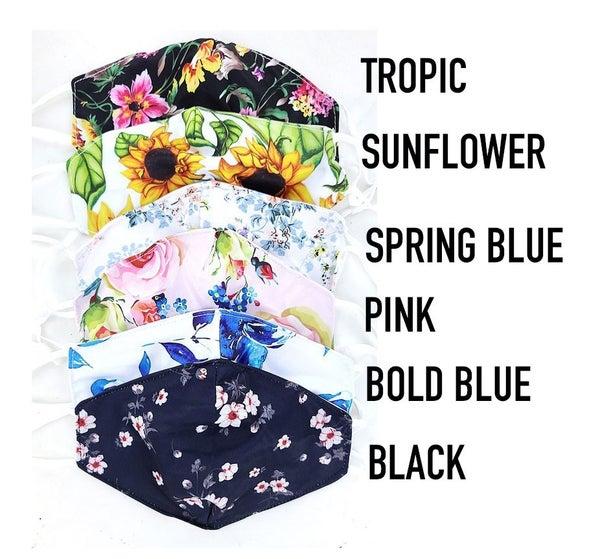 Spring Floral Mask (with filter, adjustable strap)