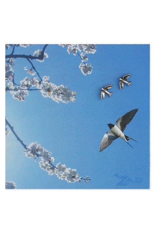 Silver swallow bird post earrings