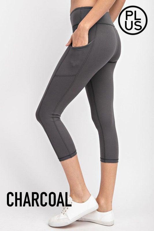 Capri microfiber yoga pants with pockets