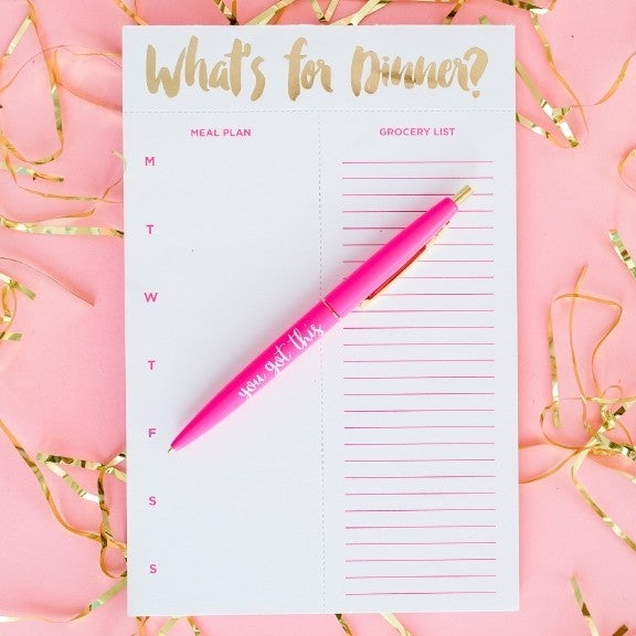 Meal Planning Notepads with tear-off grocery list