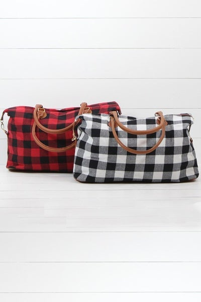Buffalo plaid print weekender tote bag