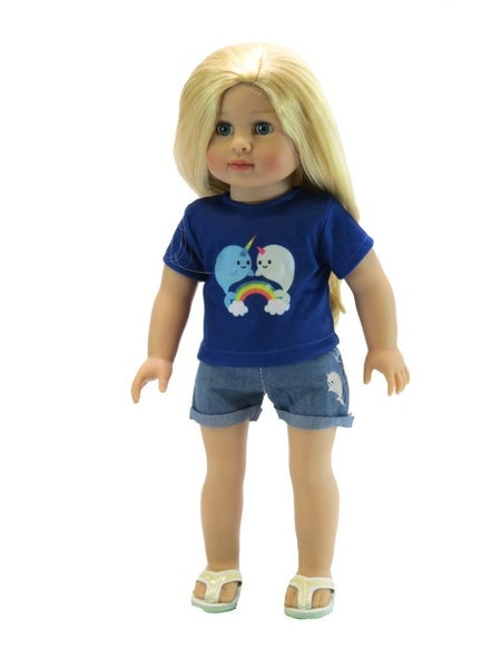 Narwhal rainbow t-shirt and jeans set : 18-inch doll clothing