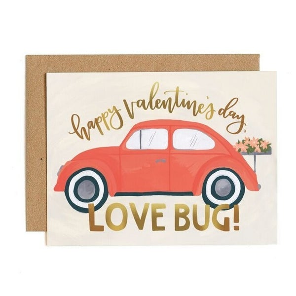 """Happy Valentine's Day Love Bug"" Greeting Card"