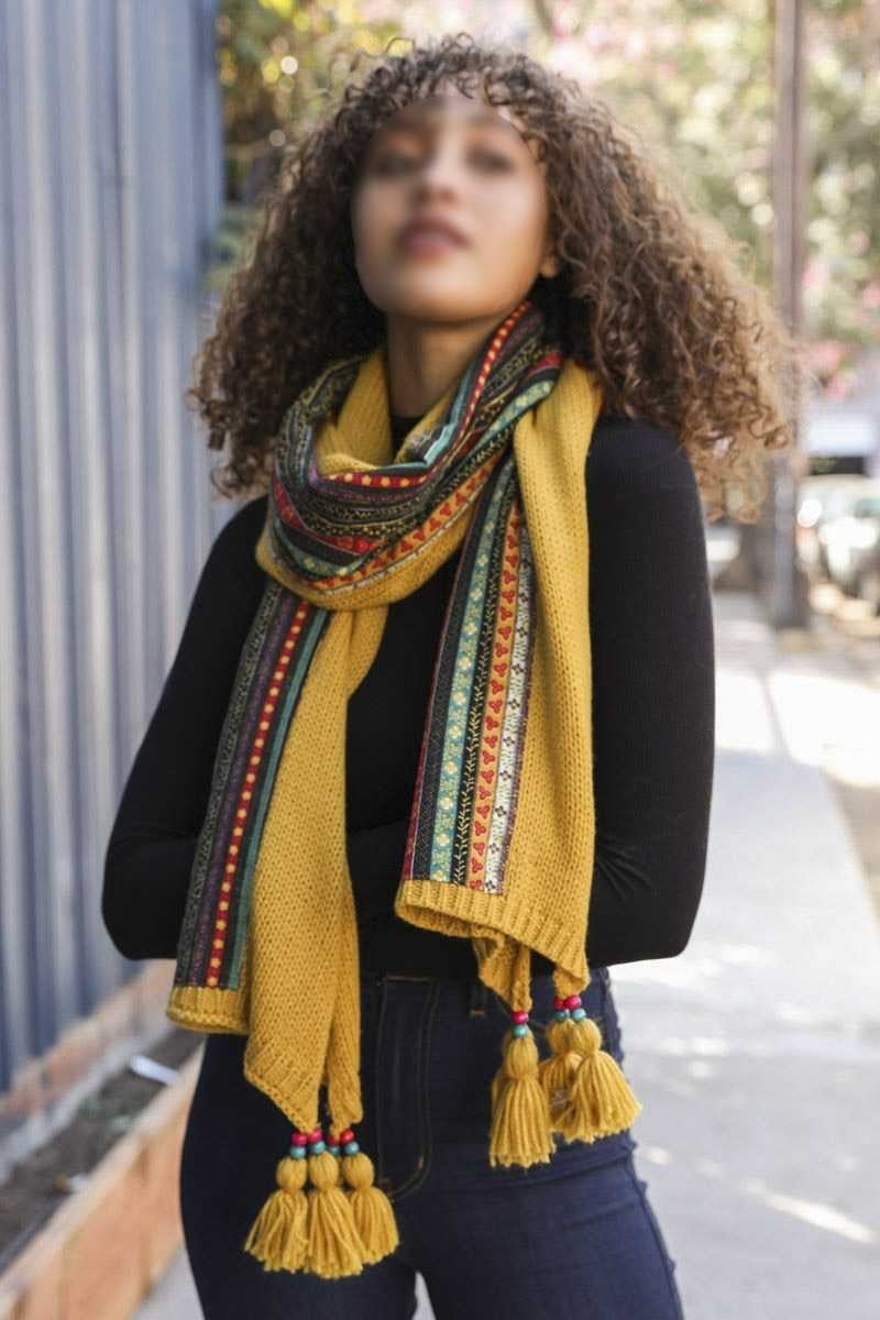 Boho braided tassel scarf