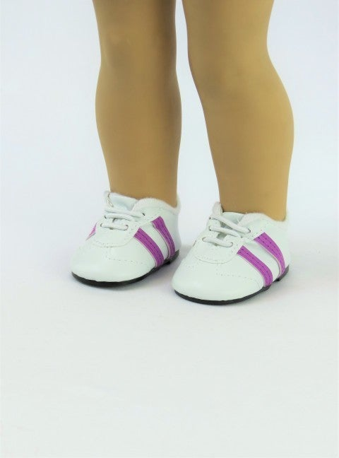Sporty tennis shoes with purple stripes : 18-inch doll clothing
