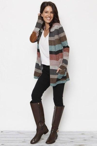 Multi-stripe long Sleeve pocket Cardigan