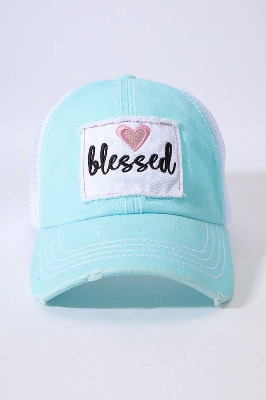 Blessed Distressed Patch Trucker Hat