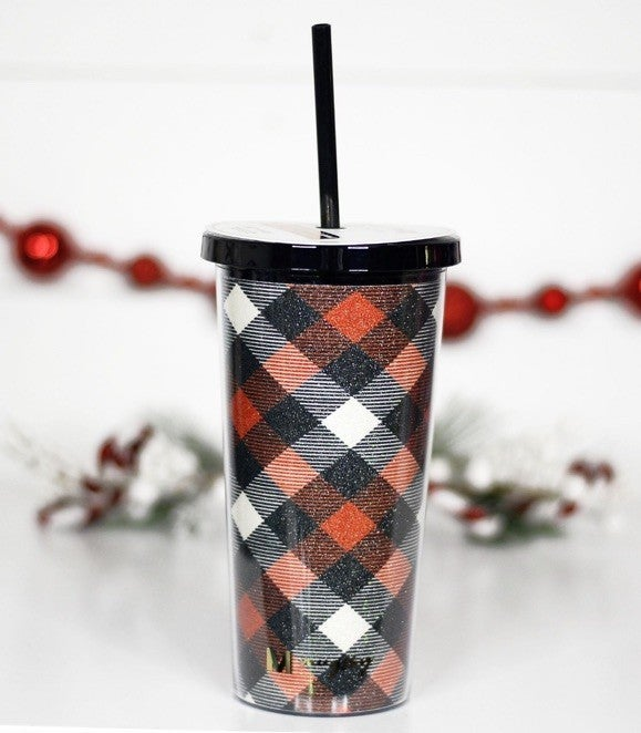 Red and Black Plaid Glitter tumbler with straw, 20 oz
