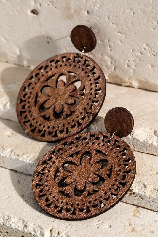 Laser-cut filigree wood round dangle earrings