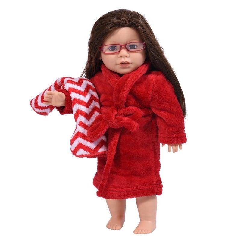 18-inch doll bathrobe and towel set