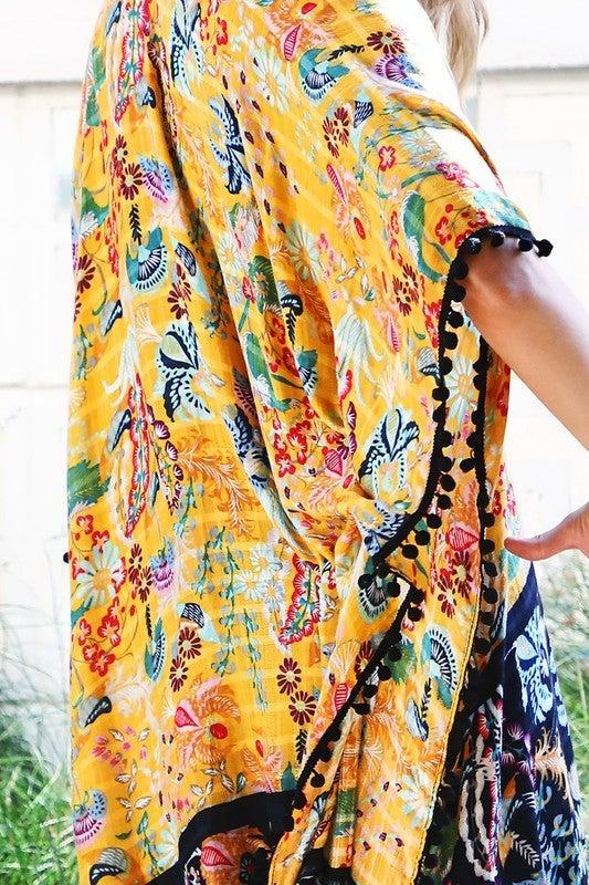 Boho Mustard Floral Kimono (one size)