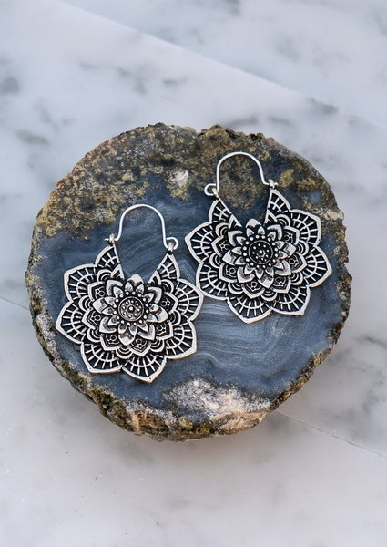 Flower Etched Earrings
