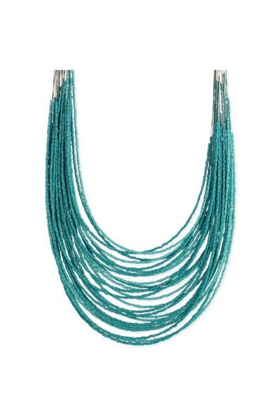Boho tiered 28-strand barrel bead necklace