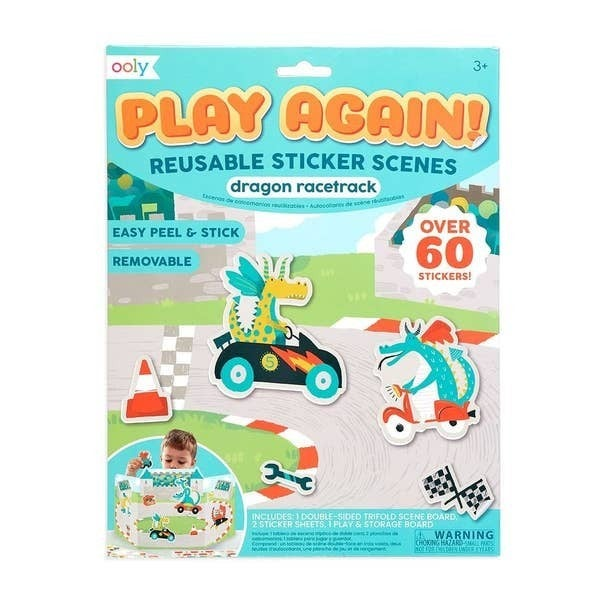 'Play Again!' Reusable Sticker Scenes: Dragon Racetrack