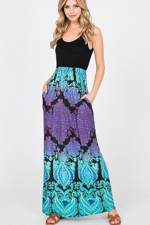 Damask Print Maxi Dress