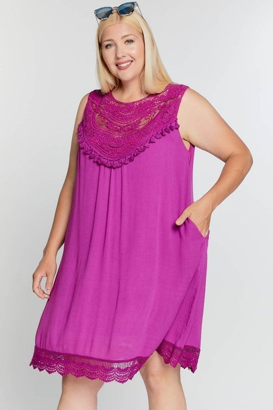Summer Crocheted Lace Sleeveless Dress