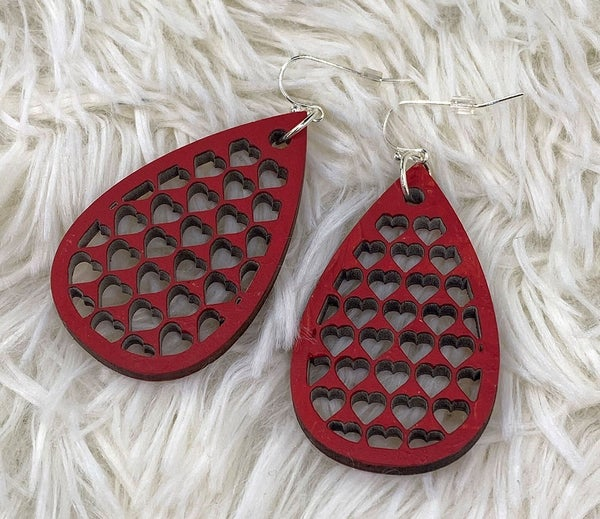Wooden valentine tear drop dangle earrings