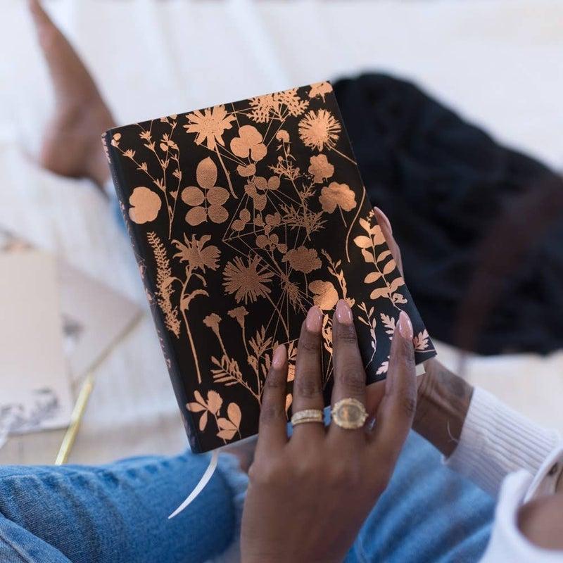 Faux Leather Black Shine Sketchbook : Papaya