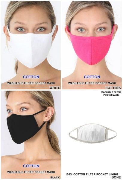 Washable Cotton Adult Filter Pocket Mask
