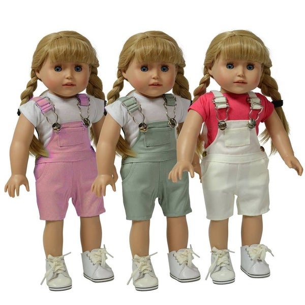 18-inch doll overalls - set of 3