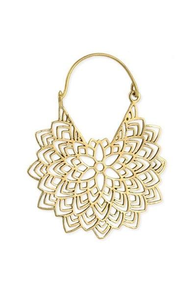 Gold floral mandala design hoop earrings