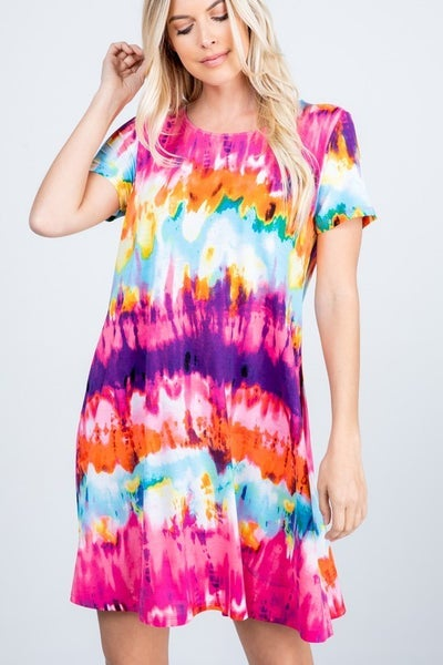 Multicolor tie-dye summer dress, with pockets!