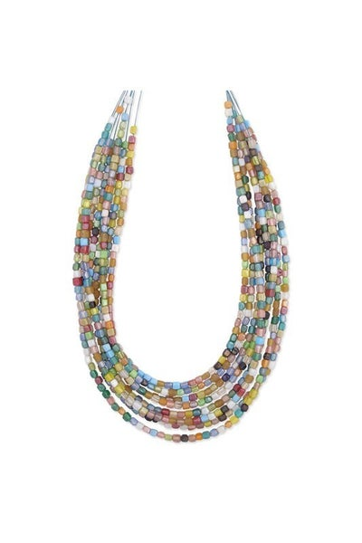 Multi-colored mosaic square glass bead 8 strand necklace